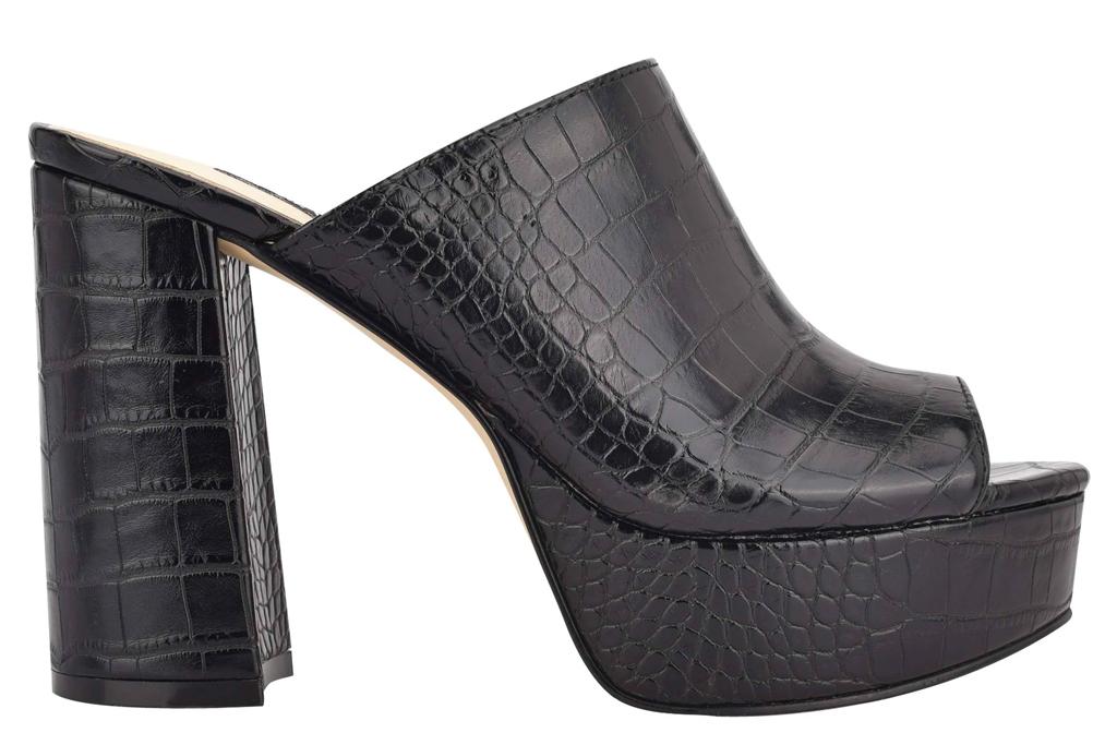 black mules, heels, platform, peep toe, nine west