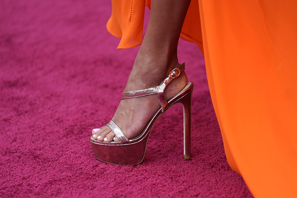 Ariana DeBose arrives at the Oscars on Sunday, April 25, 2021, at Union Station in Los Angeles. (AP Photo/Chris Pizzello, Pool)