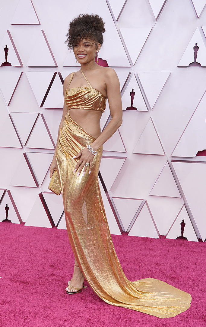 Andra Day arrives at the Oscars on Sunday, April 25, 2021, at Union Station in Los Angeles. (AP Photo/Chris Pizzello, Pool)