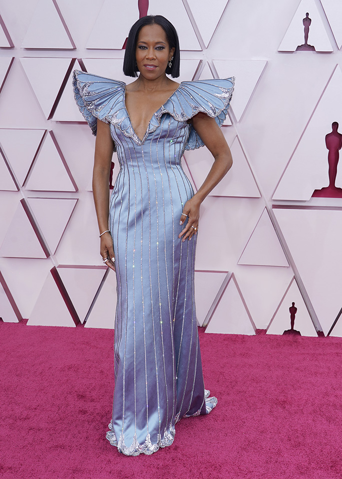 Regina King arrives at the Oscars on Sunday, April 25, 2021, at Union Station in Los Angeles. (AP Photo/Chris Pizzello, Pool)