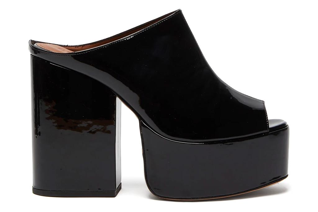 black mules, heels, platform, peep toe, osman