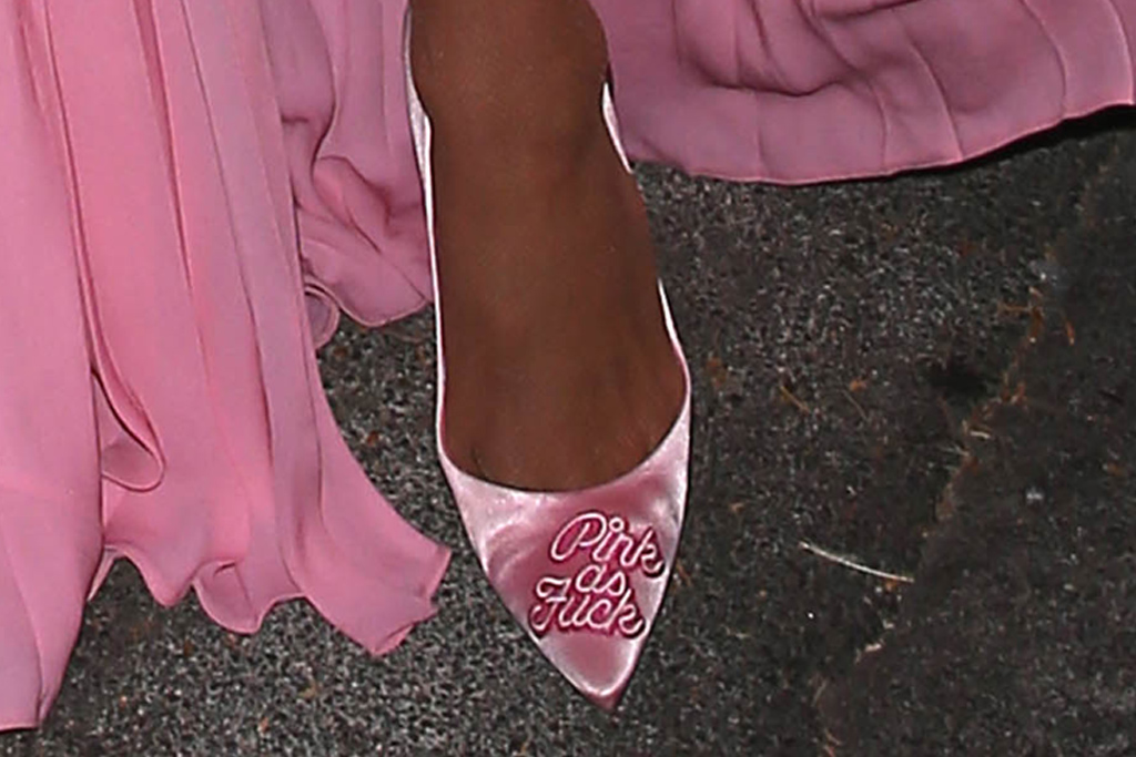 paris hilton, pink dress, gown, heels, pink as fck, purse, la, date, fiance, fishnet tights