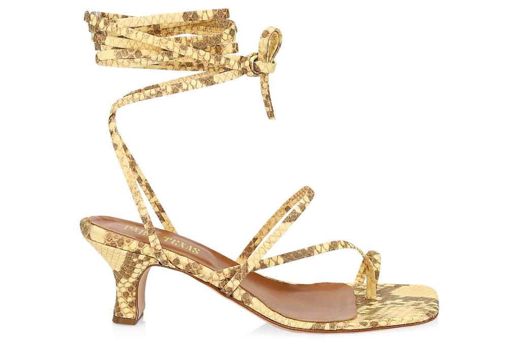 sandals, snakeskin, ankle wrap, paris texas