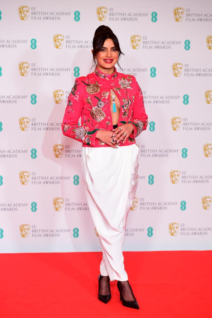 Priyanka Chopra, Embroidered Jacket, Pants, Heels, BAFTAs