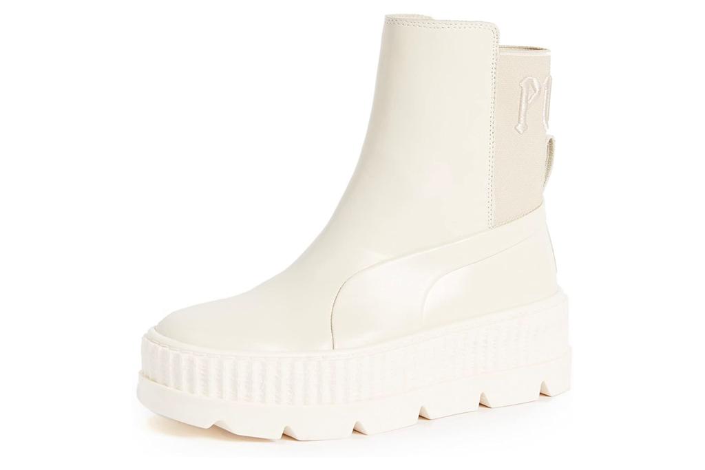 white boots, puma, fenty