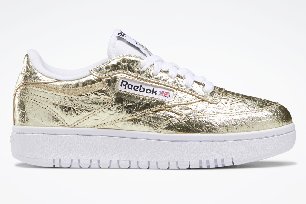 gold sneakers, reebok