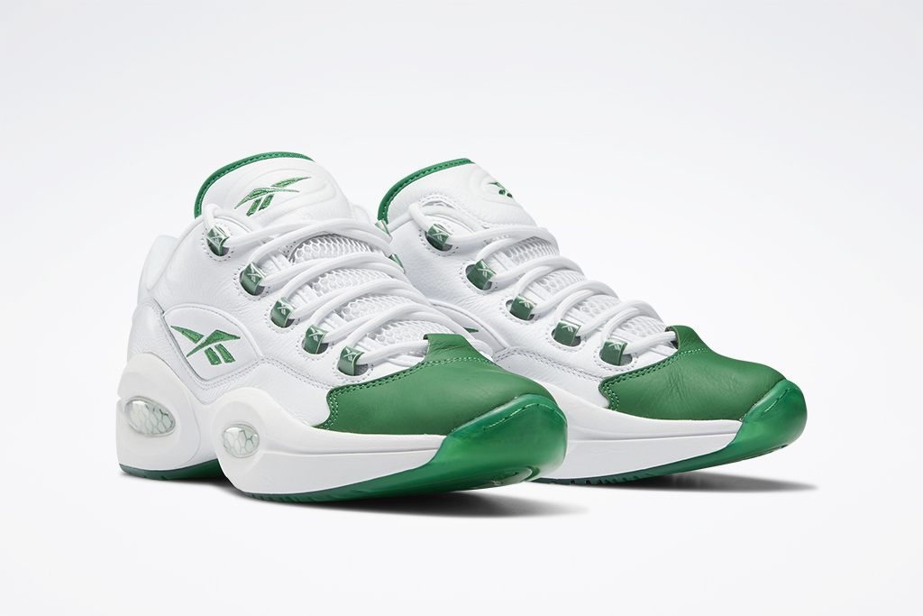 Reebok Question Low Green Toe, white and green