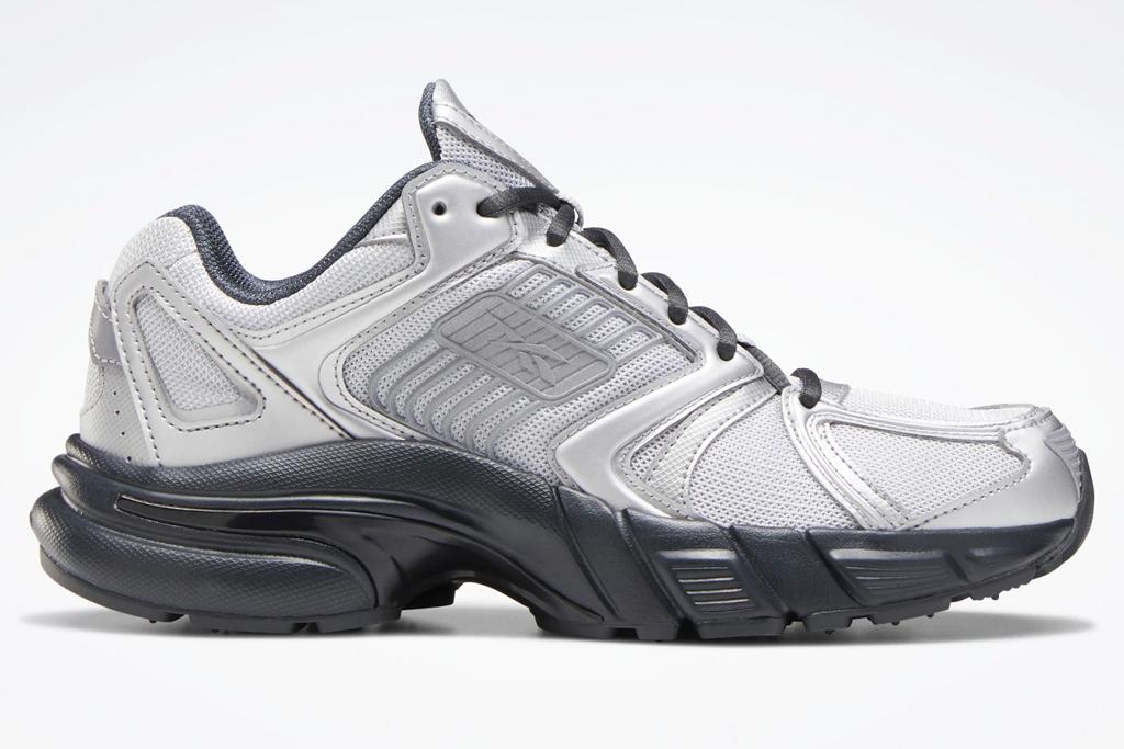 sneakers, gray, silver, reebok