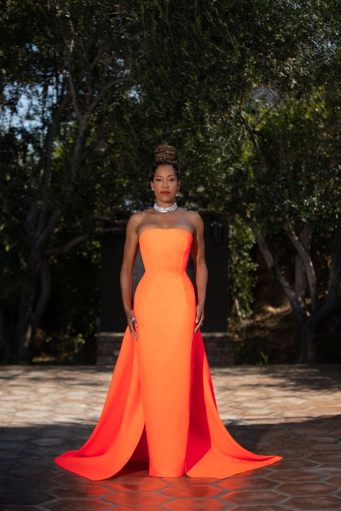 regina king, dress, gown, orange, christopher john rogers, cdga, Costume Designers Guild Awards, shoes
