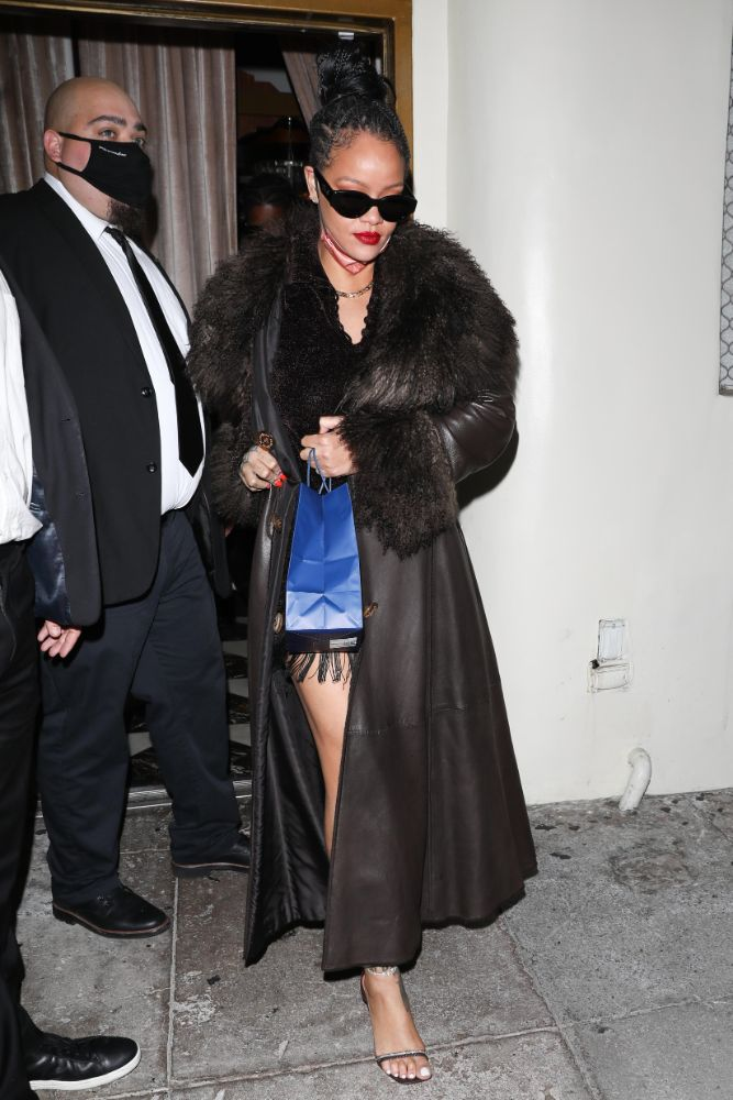 rihanna, dress, minidress, coat, fur, heels, sandals, fenty, date, a$Ap rocky, la