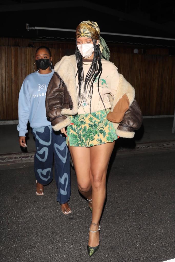 Rihanna, Shearling Coat, Mini Skirt, Heels