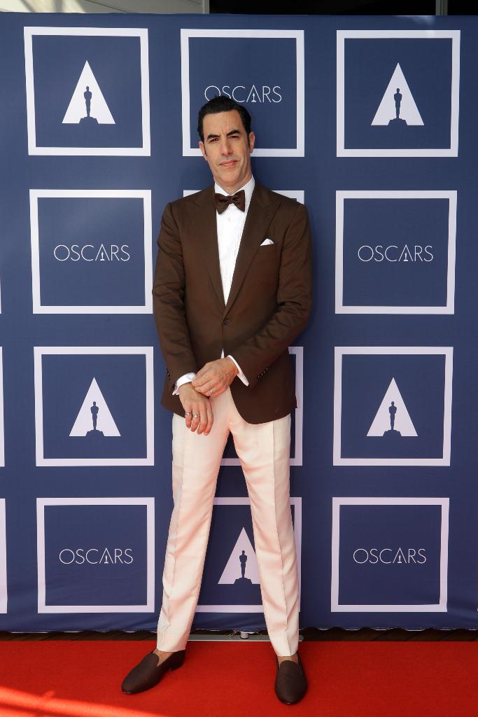 Sacha Baron Cohen, Brown Blazer, Oscars 2021