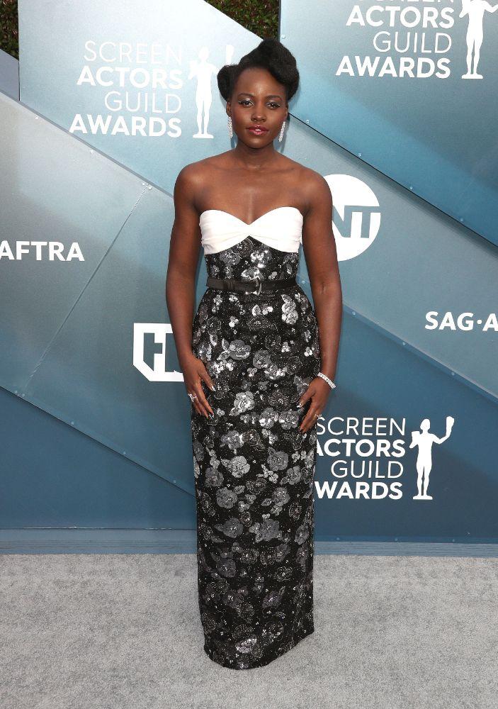 lupita nyongo, dress, sag awards, 2020