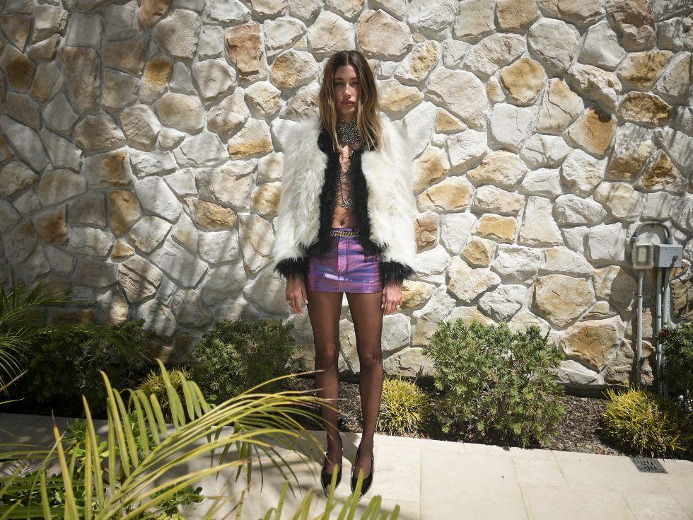 hailey baldwin, skirt, mini skirt, tights, jacket, saint laurent, fall 21, collection