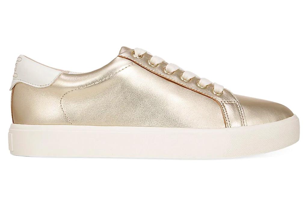 gold sneakers, sam edelman