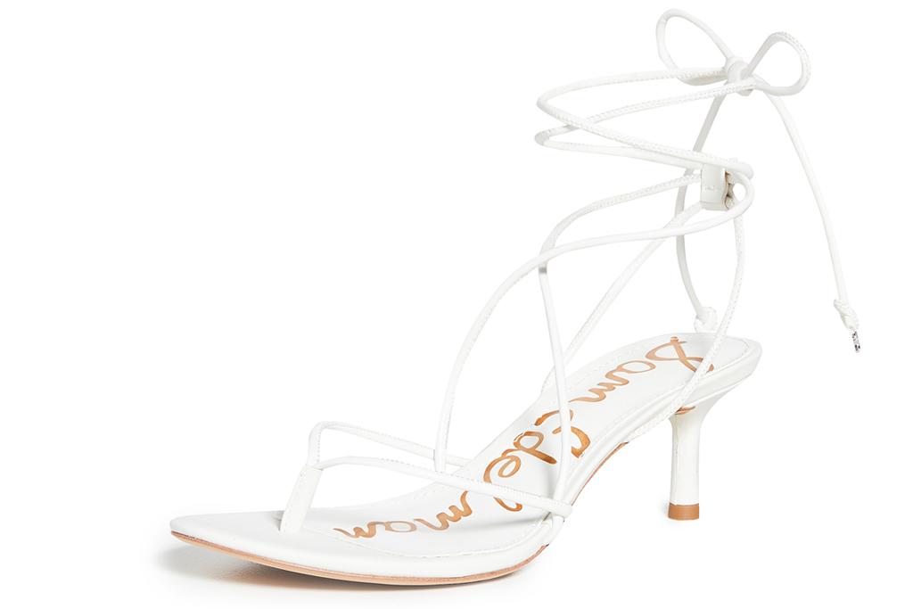 white heel, sandals, sam edelman