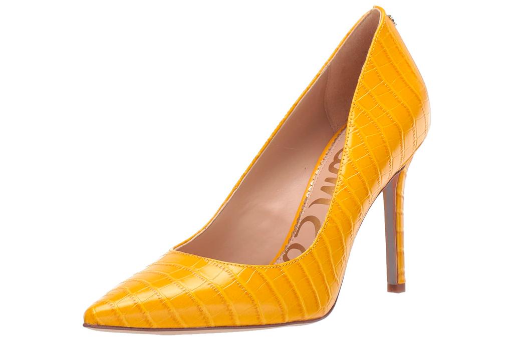 yellow heels, pumps, sam edelman