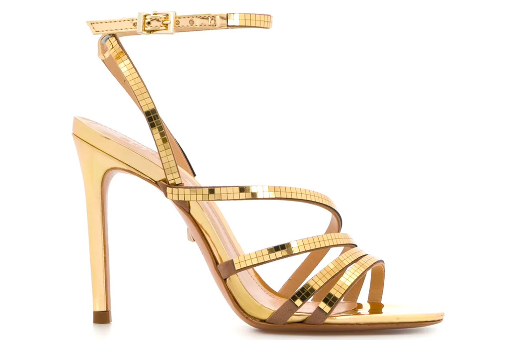 gold heels, sandals, schutz