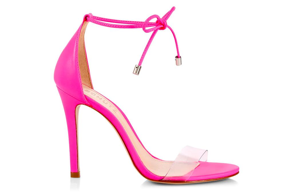 pink heels, sandals, wrap, schutz