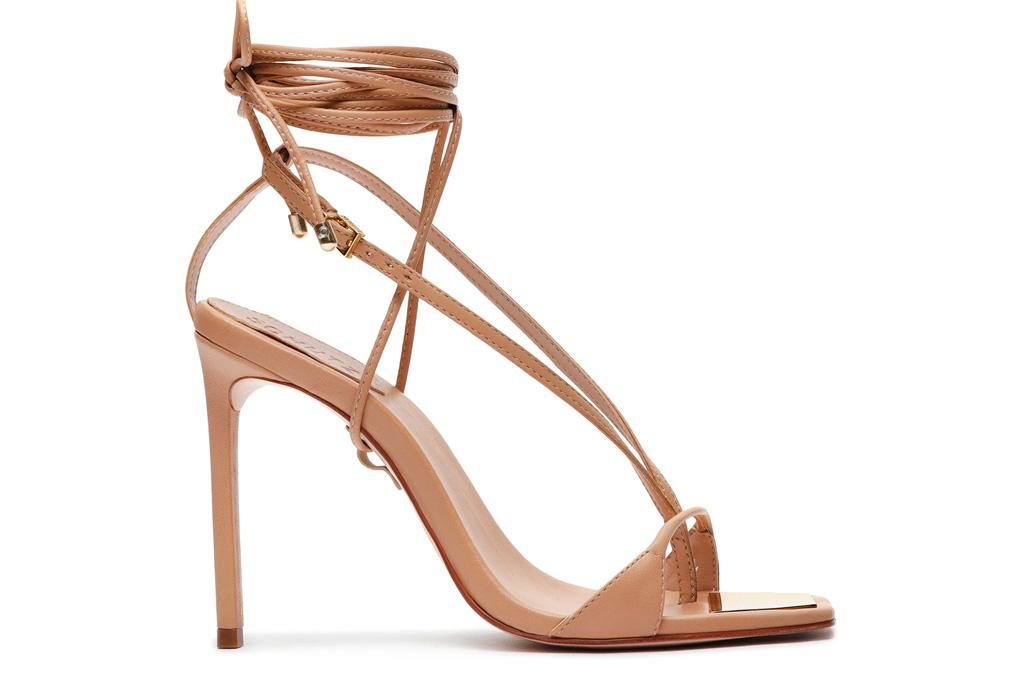 sandals, brown, ankle wrap, schutz