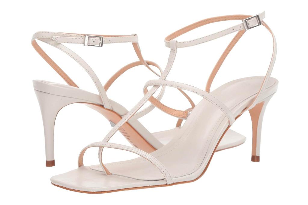 white heels, sandals, schutz