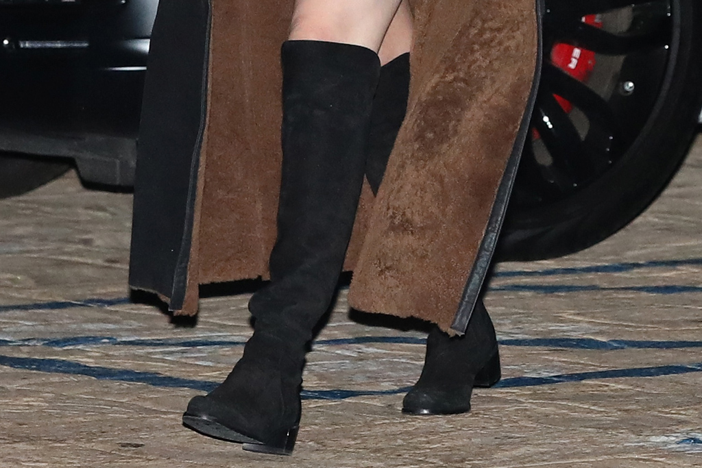 selena gomez, blonde, dress, lbd, coat, leather, boots, thigh-high boots, hair, nobu, la