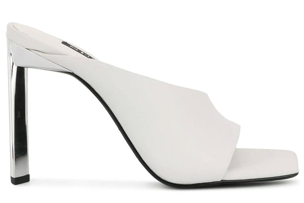 white mules, square toe, senso