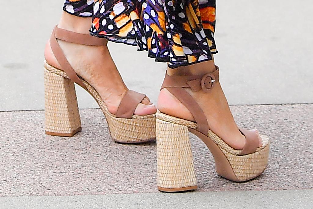 sofia vergara, dress, sundress, butterfly, americas got talent, sandals, agt, platforms, heels, pasadena, califonia