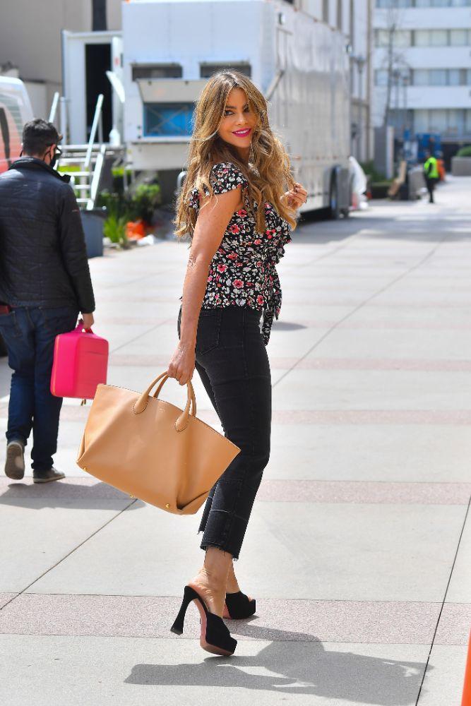 sofia vergara, jeans, floral top, shirt, heels, amina muaddi, platforms, americas got talent, agt, la