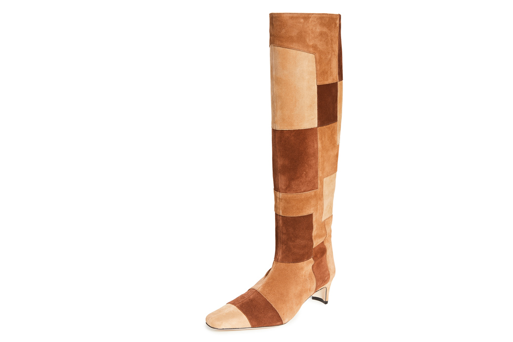 patchwork boots, boots, staud