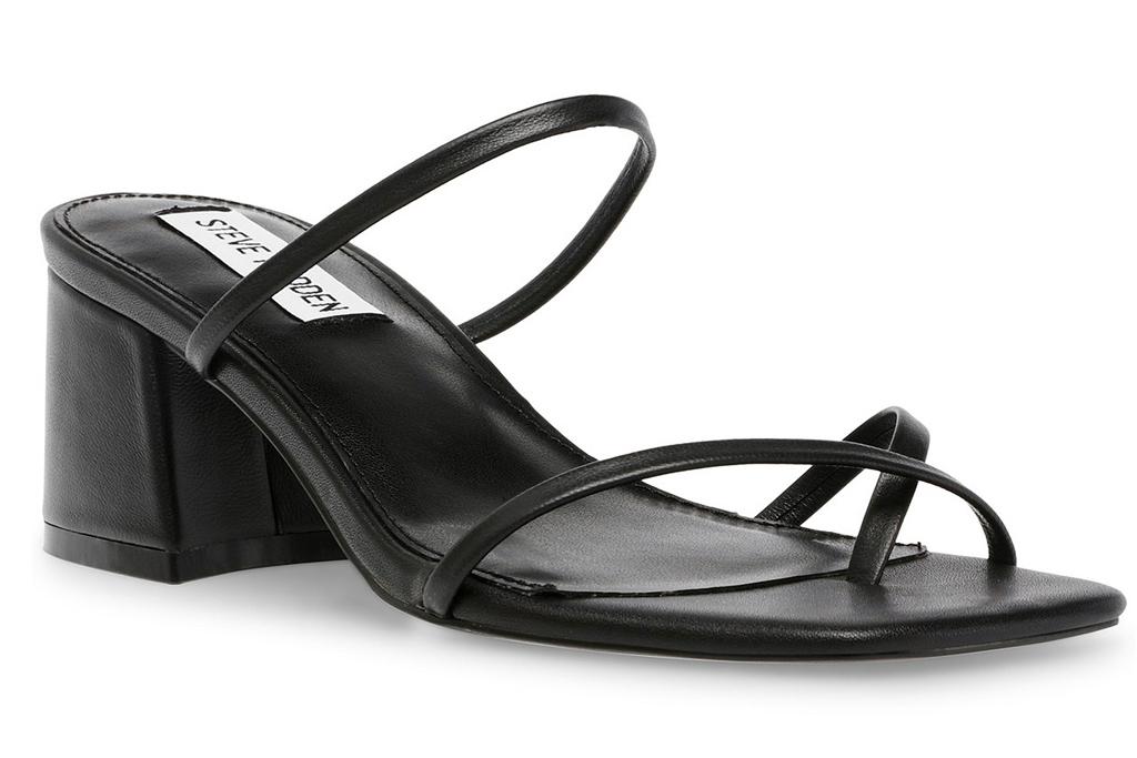 black heels, thong toe, steve madden