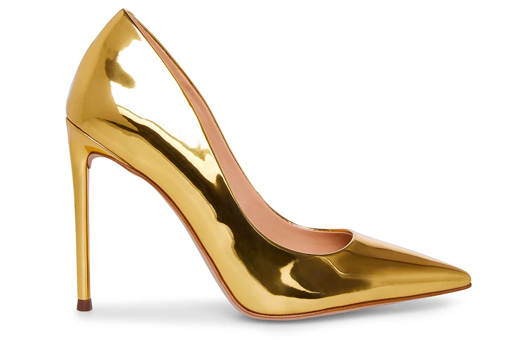 gold heels, pumps, steve madden