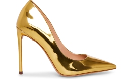 gold heels, pumps, steve madden