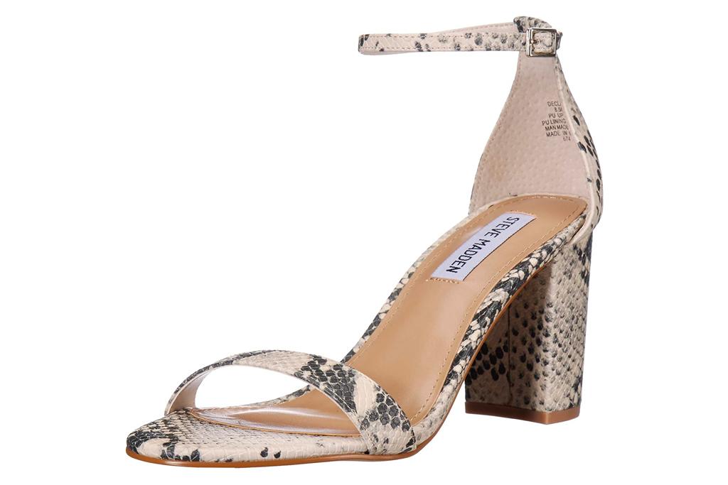 snakeskin sandals, mules, steve madden