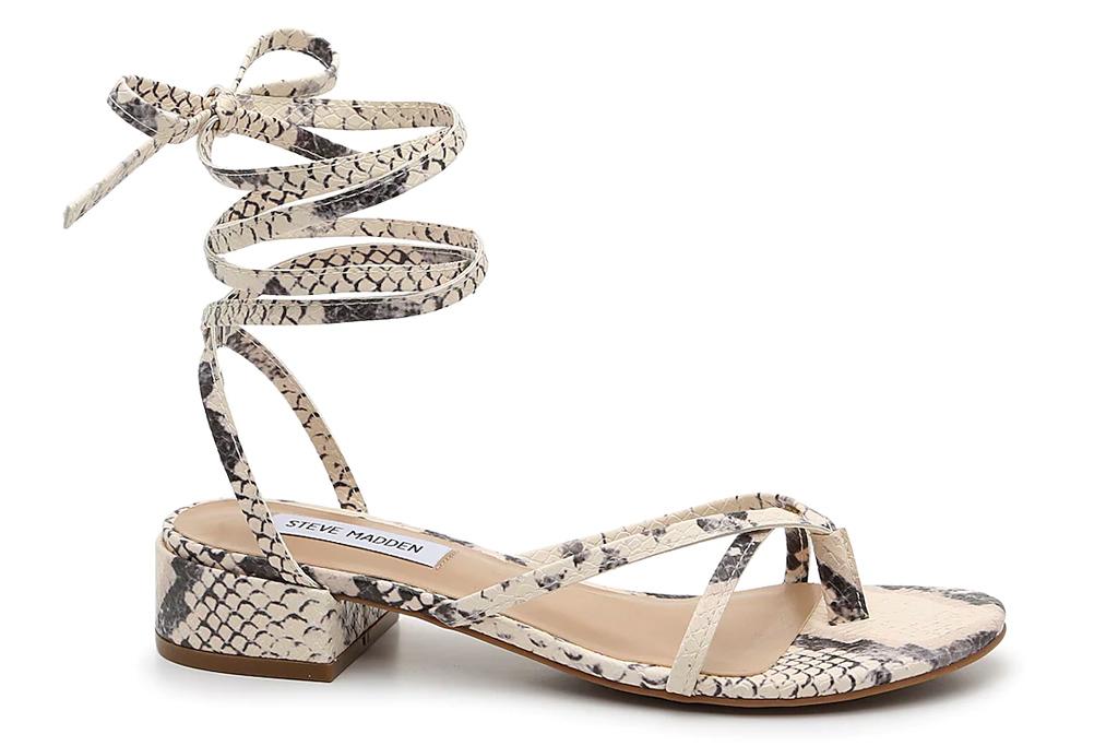 sandals, snakeskin, ankle wrap, steve madden