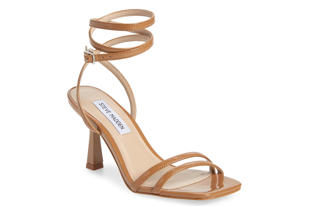 sandals, brown, ankle wrap, steve madden