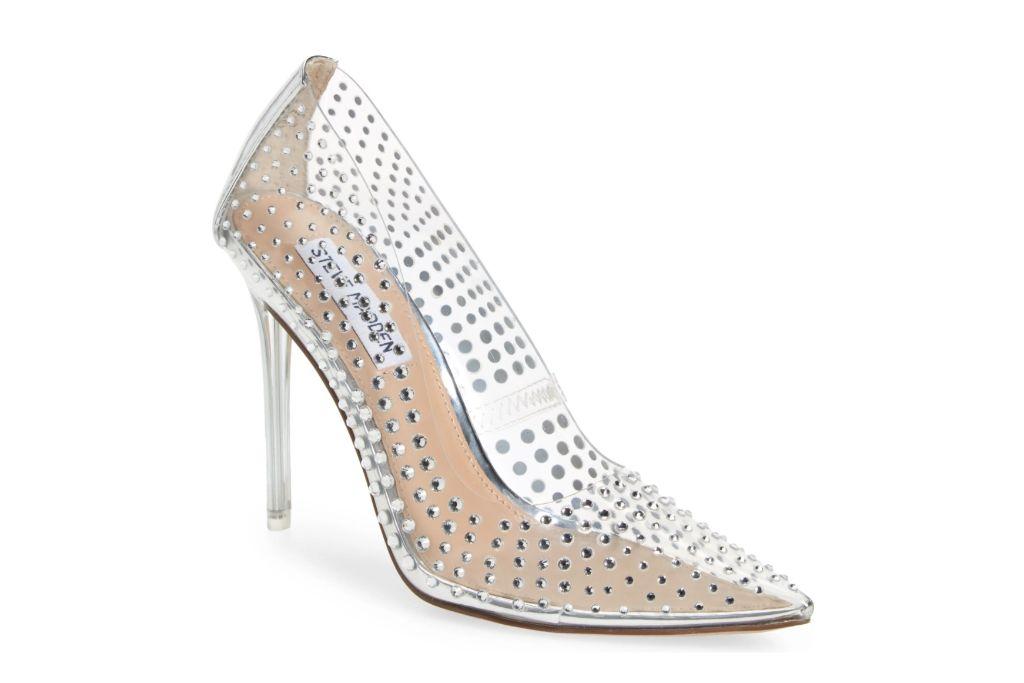 steve madden, vala pointy toe pump, clear heels
