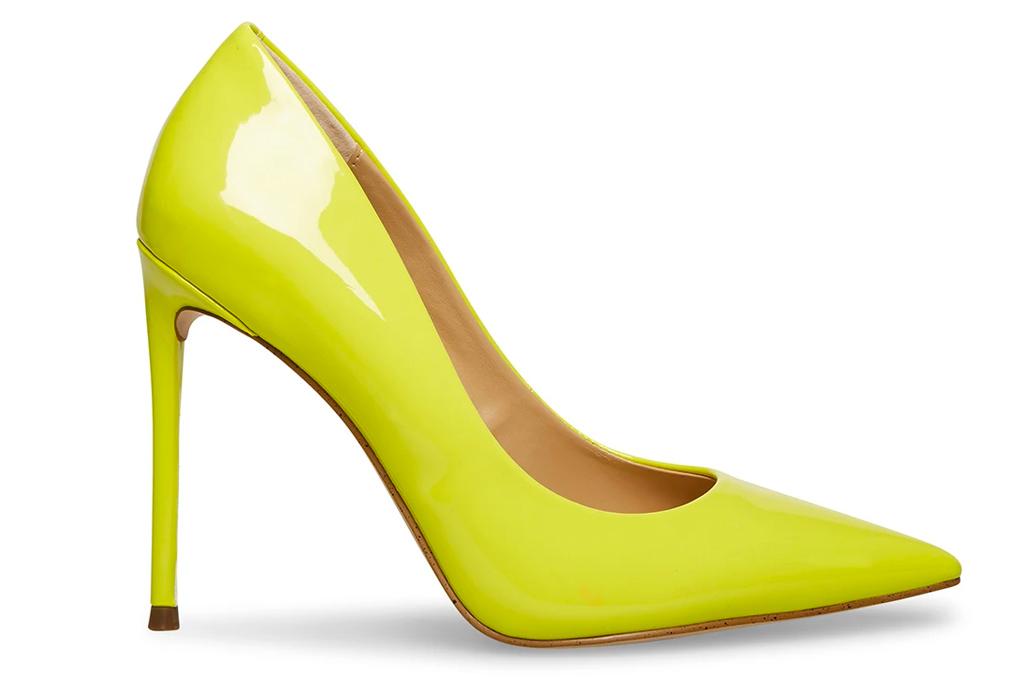yellow heels, pumps, steve madden