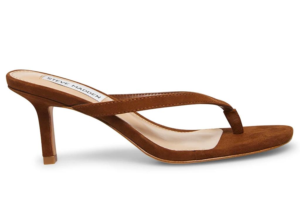 thong sandals, heels, brown, steve madden