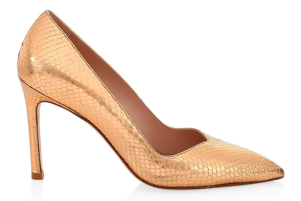 gold heels, pumps, stuart weitzman