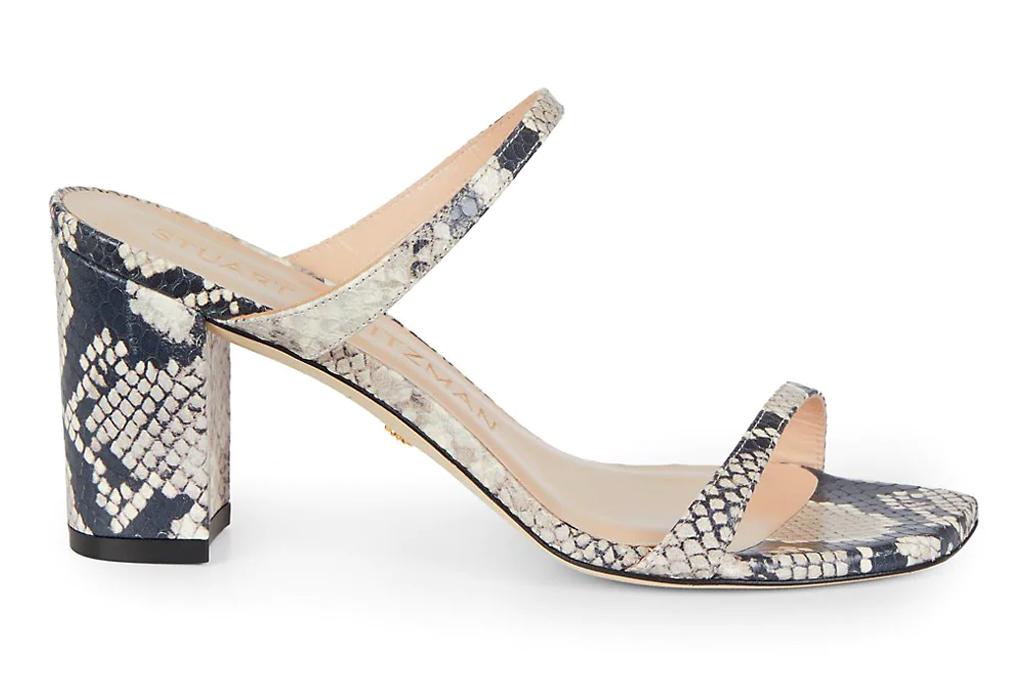 snakeskin sandals, mules, stuart weitzman