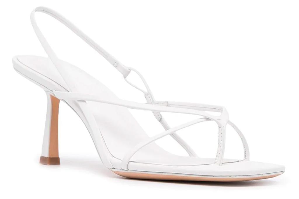 white heels, sandals, studio amelia