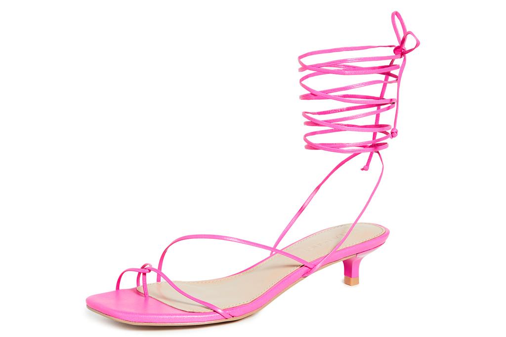 pink heels, sandals, wrap, villa rouge