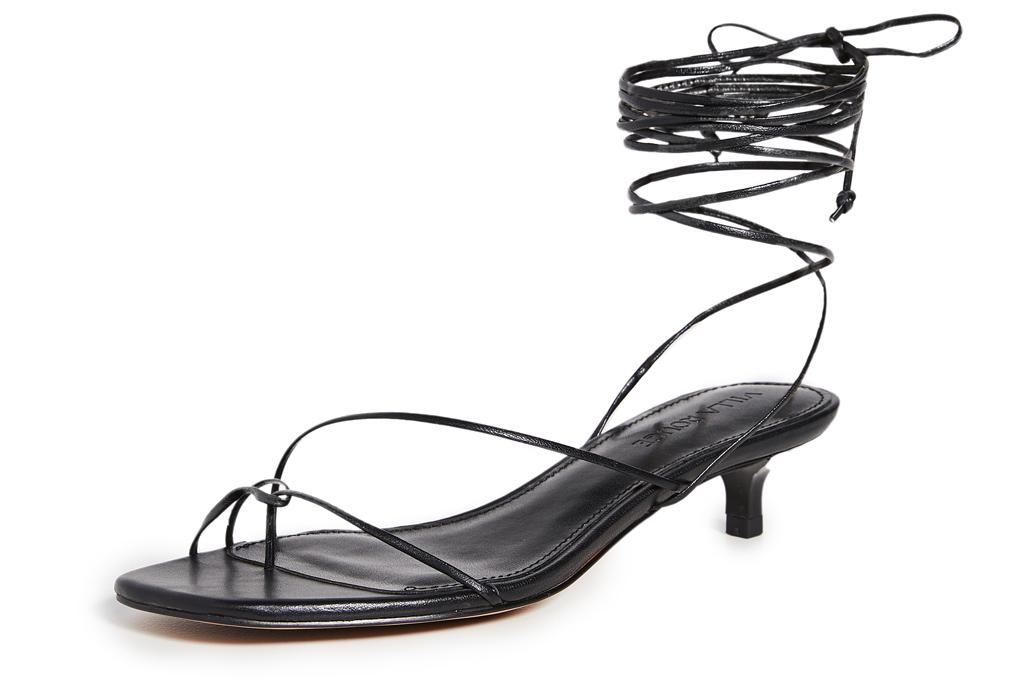 black sandals, ankle wrap, villa rouge
