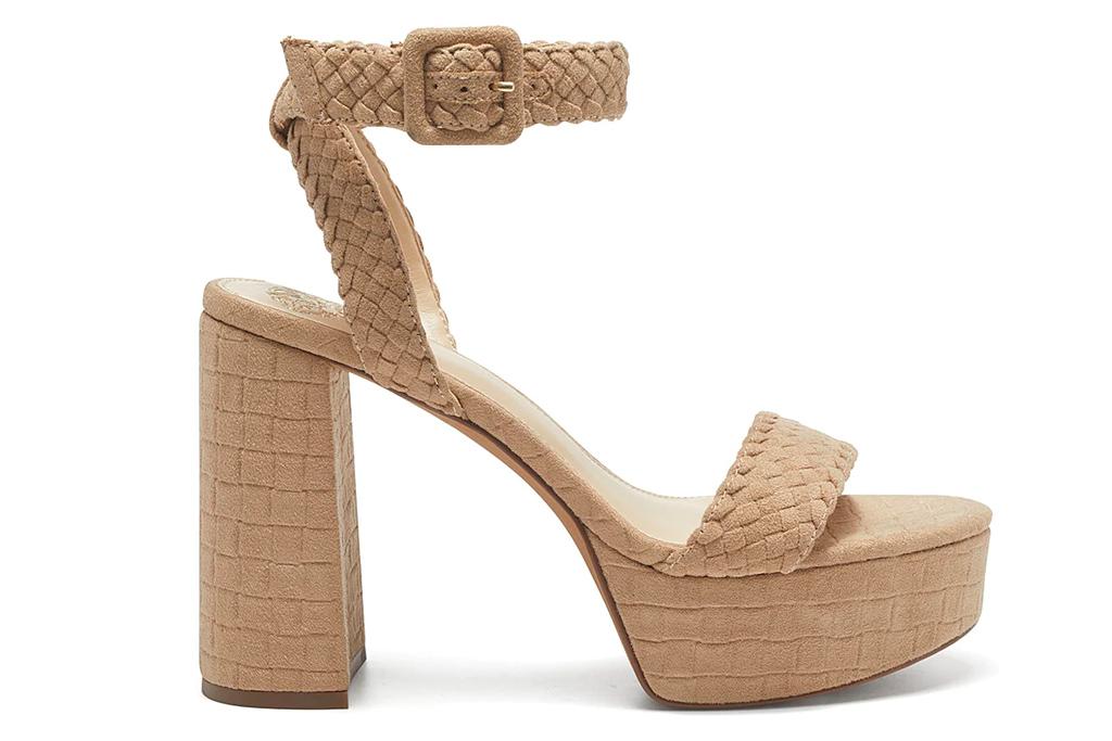 platform sandals, block heel, taupe, vince camuto