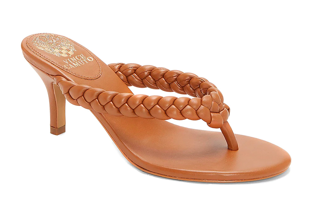 thong sandals, heels, brown, vince camuto