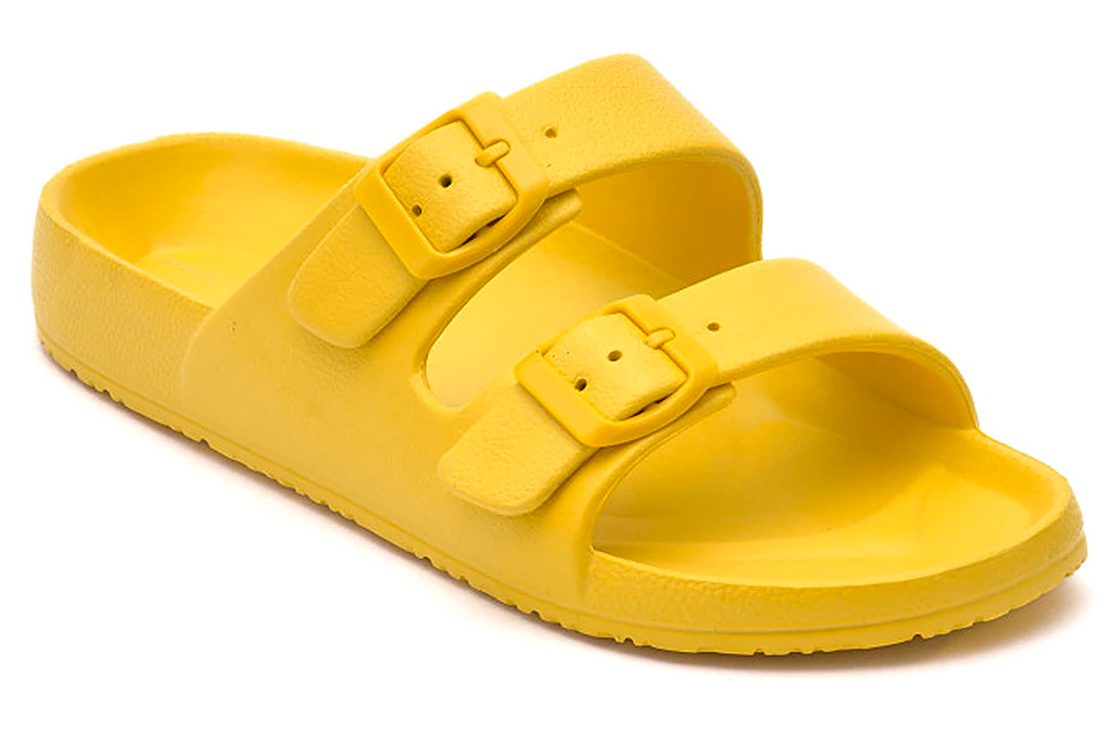 yellow slides, sandals, vince camuto