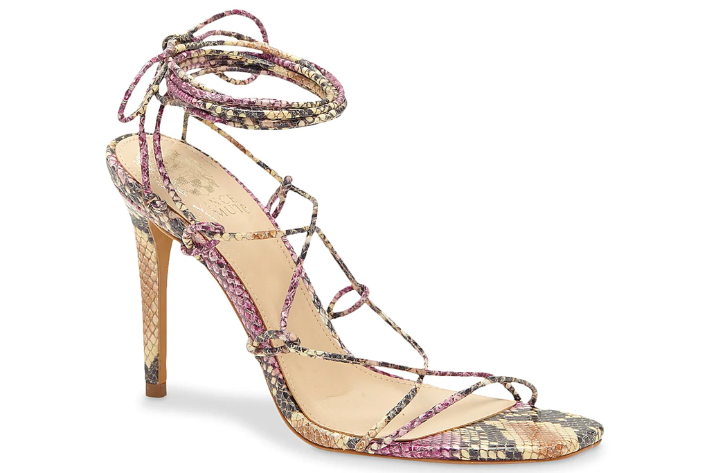 sandals, snakeskin, ankle wrap, vince camuto