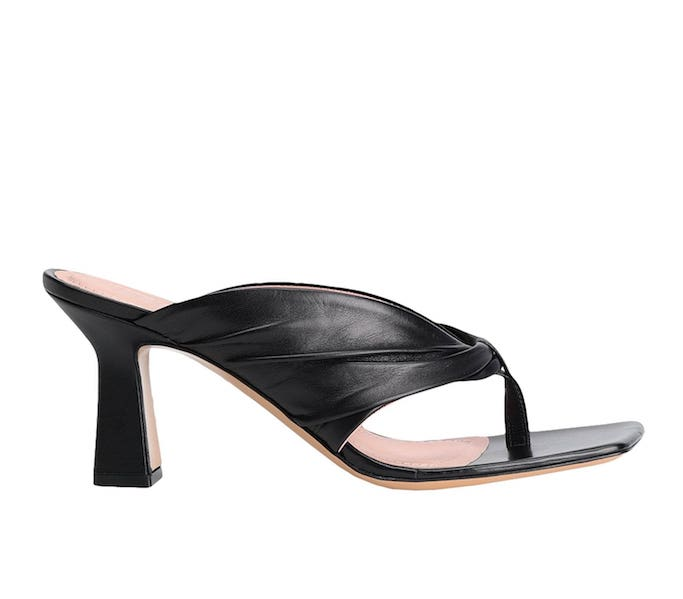 8 By Yoox Leather Square Toe Thong Sandals, black sandals, square toe sandals, heeled thong sandals