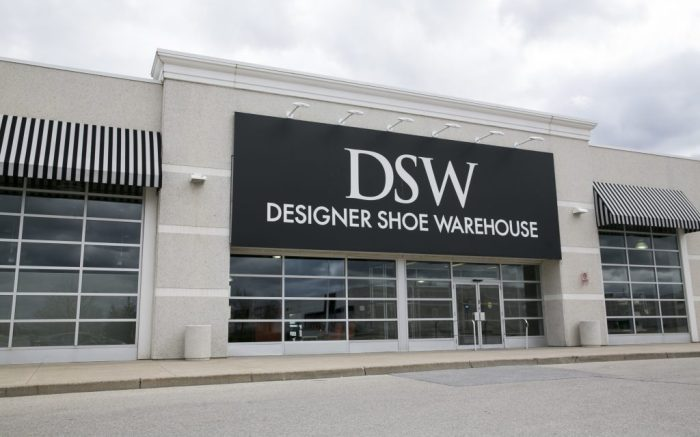 A logo sign outside of a DSW Designer Shoe Warehouse retail store in Mississauga, Ontario, Canada, on April 16, 2017. Photo by Kristoffer Tripplaar *** Please Use Credit from Credit Field ***(Sipa via AP Images)